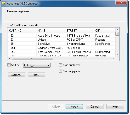 Click to view Advanced XLS Converter 3.55 screenshot