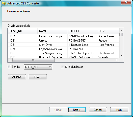 Click to view Advanced XLS Converter 2.55 screenshot
