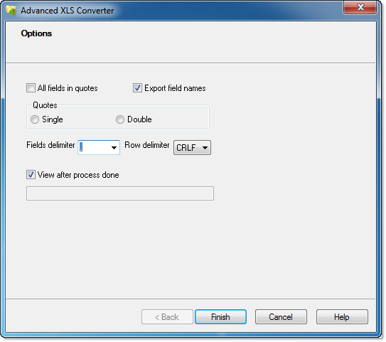 CSV file format options in XLS Converter